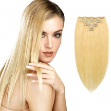 7pcs Straight Clip In Remy Hair Extensions #24 Sandy Blonde