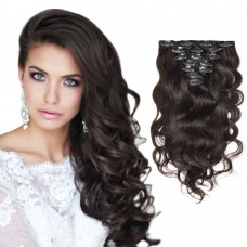 7pcs Body Wavy Clip In Remy Hair Extensions #2 Darkest Brown