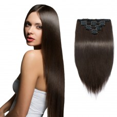 7pcs Straight Clip In Remy Hair Extensions #2 Darkest Brown