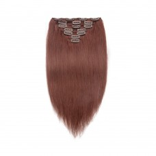 7pcs Straight Clip In Remy Hair Extensions #33 Rich Copper Red
