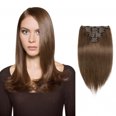 7pcs Straight Clip In Remy Hair Extensions #4 Chocolate Brown