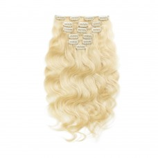 7pcs Body Wavy Clip In Remy Hair Extensions #613 Lightest Blonde