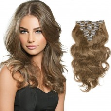 70g 16 Inch #8 Light Brown Body Wavy Clip In Hair
