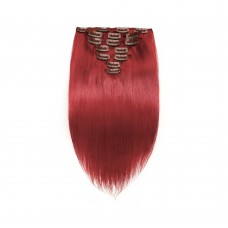 7pcs Straight Clip In Remy Hair Extensions Red