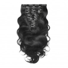 200g 22 Inch #1 Jet Black Body Wavy Clip In Hair