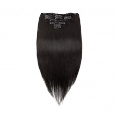100g 18 Inch #1B Natural Black Straight Clip In Hair