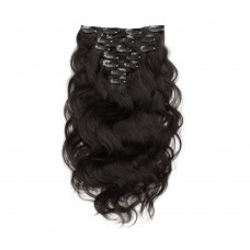 100g 18 Inch #1B Natural Black Body Wavy Clip In Hair