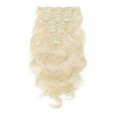 200g 22 Inch #60 Platium Blonde Body Wavy Clip In Hair