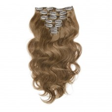 100g 18 Inch #8 Light Brown Body Wavy Clip In Hair