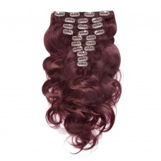 200g 22 Inch #99J Body Wavy Clip In Hair