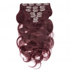 100g 18 Inch #99J Body Wavy Clip In Hair