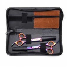 6inch Colorful Teeth Thinning & Flat Blade Scissors Set With Comb & Bag