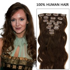 20 Inch 8pcs Incredible Body Wavy Clip In Remy Hair Extensions 120g (#4 Chocolate Brown)