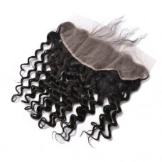 8-20 Inch Virgin Brazlian Hair Deep Curly 13*4 Free Part Lace Frontal Closure