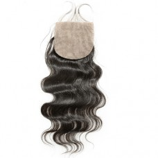 4 x 4 Natural Black (#1B) Body Wavy Virgin Brazilian Free Parted Silk Base Lace Closure