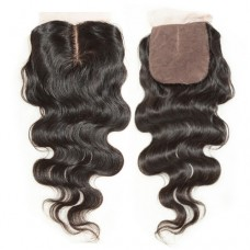 4 x 4 Natural Black (#1B) Body Wavy Virgin Brazilian Middle Parted Silk Base Closure