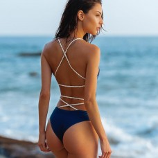 Backless High Waisted One Piece Swimwear SW1102 - Blue L