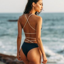 Backless High Waisted One Piece Swimwear SW1105 - Black L