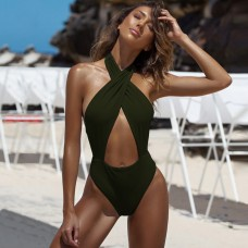 Halter Cutout Sexy Swimsuit SW1307 - Green L