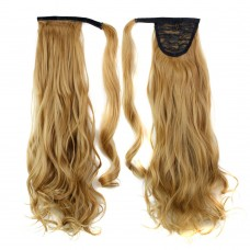 "22"" 120g #27 Synthetic Hair Long Wavy Clip In Ribbon Ponytail"
