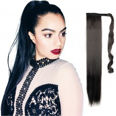 "24"" 190g #2 Synthetic Hair Straight Clip In Ribbon Ponytail"