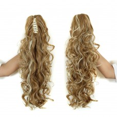 """22"""" 160g #27P613 Long Claw Clip Drawstring Curly Synthetic Ponytail"""