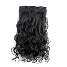 "24"" 120g #1B One Piece 5 Clips Curly Synthetic Clip in Hair"
