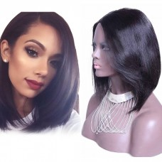 12 Inch #1B Straight Short Bob Indian Remy Hair U part Wigs PWU05