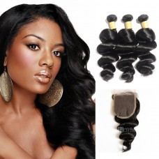 USA Stock Virgin Loose Wavy Indian Hair 3 Bundles with 4x4 Lace Closure