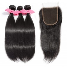 3 Bundles Straight Brazilian Virgin Hair 300g With 4*4 Straight Free Part Lace Closure