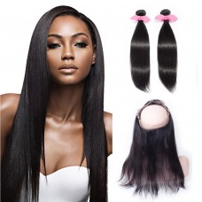 360 Lace Frontal Band with 2 Bundles Straight 7A Brazilian Virgin Hair