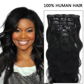 20 Inch 7pcs Luscious Body Wavy Clip In Remy Hair Extensions 70g (#1 Jet Black)