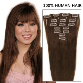 20 Inch 7pcs Competitive Straight Clip In Remy Hair Extensions 70g (#4 Chocolate Brown)