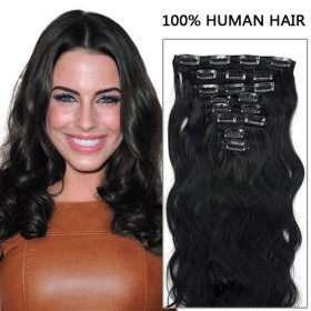16 Inch 8pcs Awe-Inspiring Body Wavy Clip In Remy Human Hair Extensions 100g (#1 Jet Black)