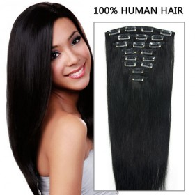 16 Inch 8pcs Concessional Straight Clip In Remy Human Hair Extensions 100g (#1 Jet Black)