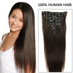 16 Inch 8pcs Elegant Straight Clip In Remy Human Hair Extensions 100g (#2 Darkest Brown)