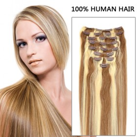 24 Inch 10pcs Straight Clip In Remy Hair Extensions 175g (#8/613)