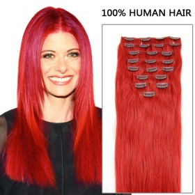 16 Inch 10pcs Delightful Red Clip In Remy Straight Hair Extensions 135g