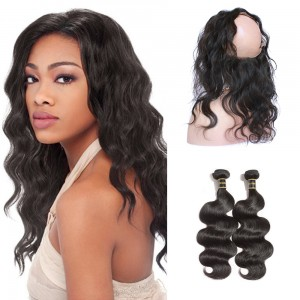 360 Lace Frontal Band with 2 Bundles Body Wavy 6A Brazilian Virgin Hair