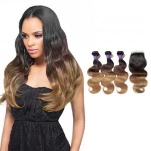 1 ombre hair weave bundles ombre hair extensions sale 1b427 ombre hair closure 1pcs with brazilian hair weave 3pcs body pmusecretfo Image collections