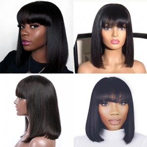 -55%  Straight Short Lace Front Human Hair Bob Wigs With Bangs 1681b6b144