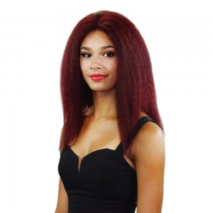 Indian Human Hair Yaki Straight Front Lace Wigs H3022