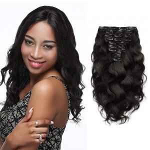 100 virgin brazilian clip in hair brazilian hair clip ins 35 10pcs body wavy virgin brazilian clip in hair 1b natural black pmusecretfo Images