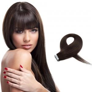 20pcs 50g cinta recta en extensiones de cabello # 2 marrón oscuro