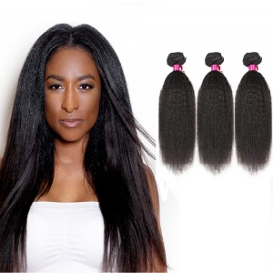 "10""-26"" 3 Bundles Kinky Straight Virgin Brazilian Hair Natural Black 300g"