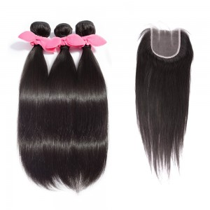 3 Bundles Straight Brazilian Virgin Hair 300g With 4*4 Straight 3 Part Lace Closure