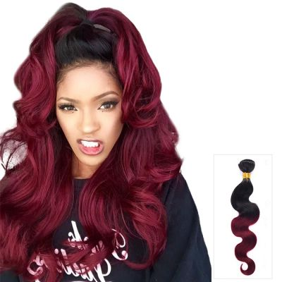 16 Inch - 26 Inch Hot Sale Ombre Hair Extensions Body Wavy #1B/99j Two Tone Color Hair Extensions