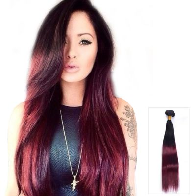 "Best Selling 16""-26"" Ombre Two Tone #1B/99j Straight Indian Remy Human Hair 100g"