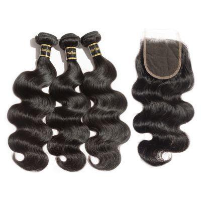 3 Bundles Body Wavy 7A Brazilian Virgin Hair 300g With 4*4 Body Wavy Free Part Closure