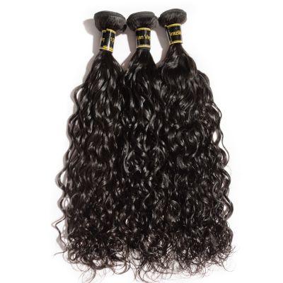 "10""-30"" 3 Bundles Natural Wavy 7A Virgin Brazilian Hair Natural Black 300g"